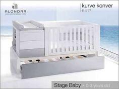 Cuna convertible de diseño Kurve de Alondra. Adaptado a cada una de las diferentes etapas de tu bebé...