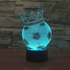 2017 New 7 Colors illusion Led Night Lights USB Football Crown Table Lamp Lampara as Home Decor Bedroom Sleep Nightlight Lampe 3d, Led Night Light, Night Lights, 3d Optical Illusions, Mood Lamps, Glass Engraving, 3d Light, Novelty Lighting, Natural Home Decor