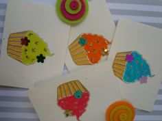 Luscious Cupcakes Folded Note Cards or Birthday by urbaneprincess, $6.00