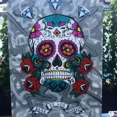Live spray paint of a sugar skull made with hand stencils and spray paint. Day Of The Dead, Spray Painting, Sugar Skull, Stencils, Wreaths, Halloween, Live, Day Of Dead, Sugar Skulls