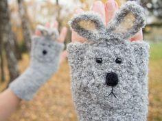 Rabbit Fingerless Gloves Grey  FREE Shipping Worldwide by Pomber, $39.99