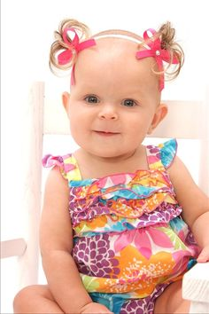 Faux pigtail headband for bald baby girls!