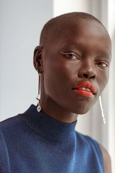 "midnight-charm: "" Grace Bol photographed by Tom Newton for Into The Gloss Stylist: Rachel Gilman Makeup: Nick Barose "" Bold Lip Makeup, Bold Makeup Looks, Summer Makeup Looks, Dark Skin Makeup, Makeup For Brown Eyes, Glam Makeup, Simple Makeup, Beauty Makeup, 2017 Makeup"