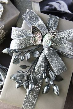 Silver Bow with Silver Butterfly