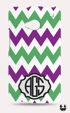 HTC One Phone Case, HTC One Case Violet Green Chevron Monogram