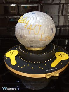 Strictly Come Dancing Disco Glitterball Cake. Entirely handcrafted, entirely edible 2016 by Mrs B's Bespoke Cakes https://mrs-bs.co.uk/ www.facebook.com/mrsbcakeologist/