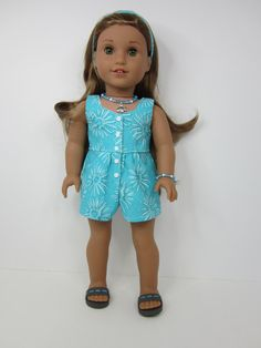 American girl doll clothes -Aqua flowered surfrider romper by JazzyDollDuds on Etsy