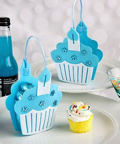 Blue Cupcake Treat Bags - Cupcake Favors