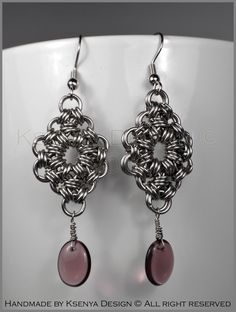 Catherine - unique chainmaille earrings. #jewelry #ksenyajewelry #earrings #chainmaille #wirejewelry #purple