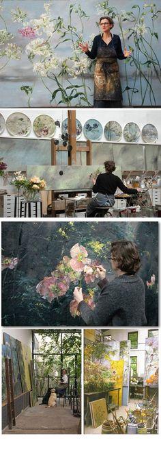 Claire Basler: Botanical Paintings (working in an old ironworks on the outskirts of Paris). Peintures botaniques (travaillant dans une ancienne forge à la périphérie de Paris). http://www.clairebasler.com