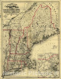 Map Of New York, Old Maps, Antique Maps, Portsmouth, New Hampshire, Manchester, Historical Maps