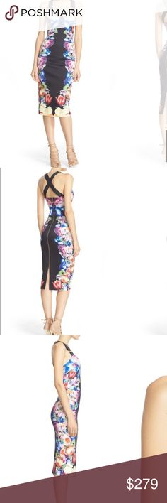 """Ted Baker London 'Deony' Buckle Strap Sheath Dress Details & Care Gleaming buckles detail and adjust the wide grosgrain straps of a slinky sheath cut from stretchy scuba-knit fabric. A mirrored floral print accentuates the body-conscious styling and a full-length back zip amps up the femme-fatale allure. 44"""" front length; 50"""" back length (size 4) (12)  Exposed back-zip closure. Adjustable buckle straps. Sweetheart neck. Back slit. Stretch lining. 95% polyester, 5% elastane. Dry clean or hand…"""
