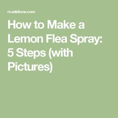How to Make a Lemon Flea Spray: 5 Steps (with Pictures)