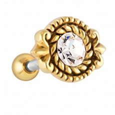 FreshTrends 4mm CZ Rope Bezel Gold Plated Silver Cartilage Earring Stud