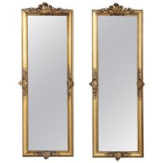 19th Century Pair of French Baroque Gilded Mirrors | From a unique collection of antique and modern wall mirrors at https://www.1stdibs.com/furniture/mirrors/wall-mirrors/