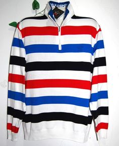 Paul & Shark AUTHENTIC Stripes Cotton Men's Knitted Italian Sweater Size XL $499 #PaulShark #12Zip