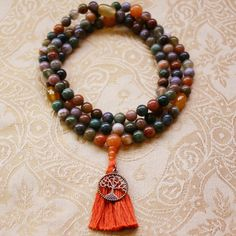 Fancy Jasper Mala Bead Necklace with Yellow by compassionmalas