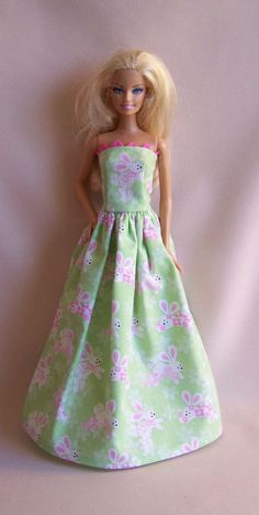 Handmade Barbie Clothes Green with Rabbits by PersnicketyGrandma, $7.00