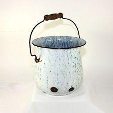 Antiguo Francés de portador de, Graniteware Blanco Azul impregnadas De Cubo