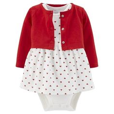 Just One You™Made by Carter's® Newborn Girls' 2 Piece Bodysuit Dress and Cardigan Set - Red