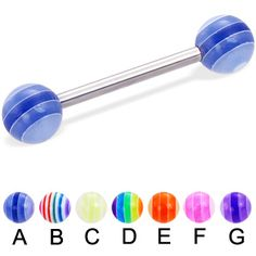 Straight barbell with acrylic layered balls, 14 ga