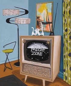 Mid Century Modern Eames Retro Limited Edition Print from Original Painting TV Twilight Zone Mid Century Art, Mid Century House, Mid Century Modern Design, Eames, Motif Vintage, Vintage Art, Vintage Space, Googie, Retro Art