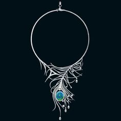 Wonderland india blue necklace with 18.97-carat opal, briolette and brilliant-cut diamonds in platinum by Boodles
