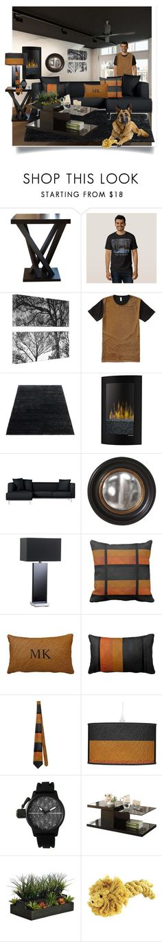 """Masculine Modern Home Decor"" by sgolis ❤ liked on Polyvore featuring interior, interiors, interior design, home, home decor, interior decorating, Abbyson Living, Dimplex, Matthew Hilton and Howard Elliott"