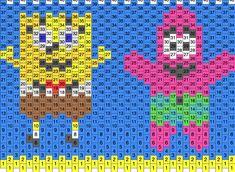 Spongebob And Patrick Cuff Or Small Purse Pony Bead Patterns   Characters Kandi Patterns for Kandi Cuffs