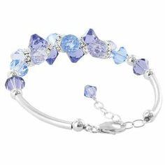 """Sterling Silver Cluster Lavender Blue and Clear Crystal Bracelet 7 to 8.5 inch Length Adjustable Made with Swarovski Elements Gem Avenue. $34.99. Lobster Claw Clasp in Sterling Silver. 7"""" to 8.5"""" Length Adjustable. 15mm, 8mm Multifaceted Lavender Blue and Clear Swarovski Elements. Gem Avenue Sku # BHBR042"""