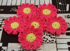 Crocheted Hot Pink and Yellow Flower Appliques.