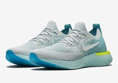 ae834a96deb8 The Nike Epic React Flyknit Volt Glow Pack comes in Platinum White-Mica  Blue-Volt Glow-Glacier Blue and Blue Glow White-Photo Blue-Volt Glow for  both men