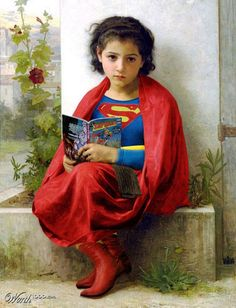 """""""Little Supergirl""""by aards2 - from a Worth1000 contest to combine superheroes with Renaissance paintings. (More at the link.)"""