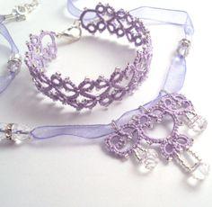 Tatted Lilac Necklace and Bracelet Set - Lillian. $44.00, via Etsy.