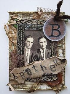 ATC by Rina using Darkroom Door Photobooth image and rubber stamps.