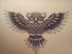 Old School Owl Tattoo Flash by jcroe