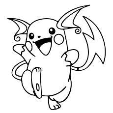 Pikachu Raichu Smiling Coloring Sheet