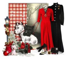 """Holiday 1930s Red Gown & Black Velvet Coat"" by helenehrenhofer ❤ liked on Polyvore featuring Trilogy, John Lewis, Gripoix, Miriam Haskell, CABARET, Gypsy, vintage and 1930s"