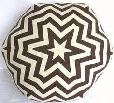 Ottoman Pouf Floor Pillow chevron zigzag brown natural All Matched Seams 18 inch. $80.00, via Etsy.