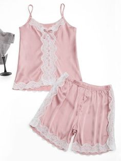 SHARE & Get it FREE | Lace Trim Cami Top With Satin Shorts - Pink XlFor Fashion Lovers only:80,000+ Items • New Arrivals Daily Join Zaful: Get YOUR $50 NOW!