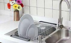 Dish Drainer Rack Over Sink Holder Drying Kitchen Organizer Stainless Steel