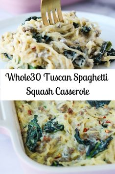 A Tuscan spaghetti squash casserole with kale, homemade sausage, and a creamy dairy free garlic cream sauce. A Tuscan spaghetti squash casserole with kale, homemade sausage, and a creamy dairy free garlic cream sauce. Paleo Menu, Paleo Recipes, Whole Food Recipes, Paleo Food, Paleo Casserole Recipes, Dairy Free Recipes, Recipes Dinner, Easy Whole 30 Recipes, Paleo Bread