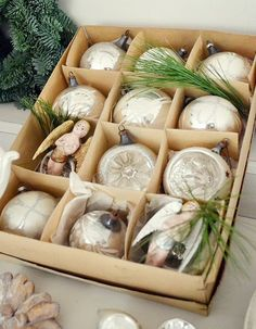 white christmas, vintage ornaments, box of old white ornaments Antique Christmas, Vintage Christmas Ornaments, Christmas Baubles, Christmas And New Year, All Things Christmas, Winter Christmas, Christmas Holidays, Christmas Crafts, Christmas Decorations