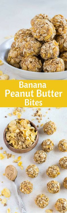 Banana Peanut Butter Snack Bites are deliciously satisfying! These little snack bites are packed full of flavor. Even better, you can freeze them! Peanut Butter Dessert Recipes, Peanut Butter Bites, Peanut Butter Banana, Healthy Eating Recipes, Baby Food Recipes, Snack Recipes, Budget Recipes, Yummy Snacks, Healthy Meals