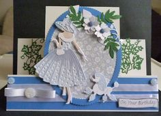 Card made using Hunkydory card for the stepper with the Out for a stroll dies - Emma and Perdy Card Making Inspiration, Making Ideas, Tassel Bookmark, Art Deco Cards, Stepper Cards, Tattered Lace Cards, Dress Card, Hand Made Greeting Cards, Spellbinders Cards