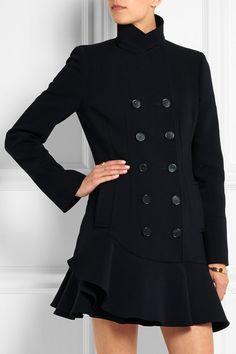 Alexander McQueen | Ruffled wool-blend coat | NET-A-PORTER.COM