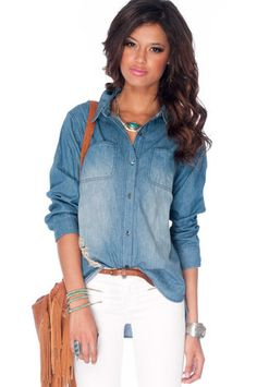 Destroyed Vintage Denim Shirt in Dark Wash $47 at www.tobi.com