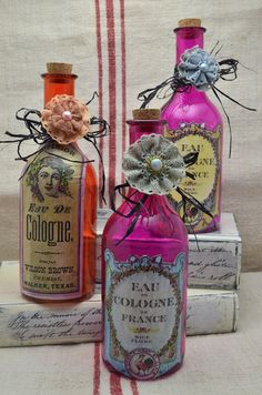 """Decorative Glass Bottle with Vintage look French """"Parfum"""" Label-"""
