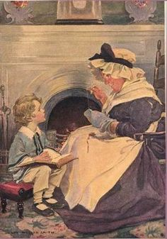 """David Copperfield and Peggoty by the parlour fire."" Illustration by Jessie Willcox Smith for 'David Copperfield' in 'Dicken's Children, Four Drawings by Jessie Willcox Smith,' which appeared in the Christmas issue of Scribner's Monthly Magazine for December 1910."