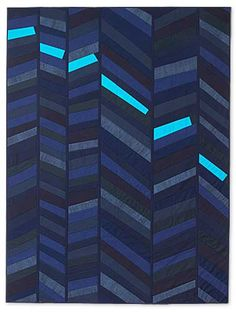 ASCENT, DESCENT - my hat is off to LISA REPSEVICIUS, because she made this very low-key, quick set of three string-pieced chevrons, and then she PUNCHED IT RIGHT UP with just six little pieces of the sky blue. -- click for this and many other great modern strip quilts sold at auction by the SALVAGE/SELVEDGE group to support a school in Ethiopia